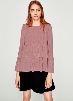Zara блуза в полоску с рюшами