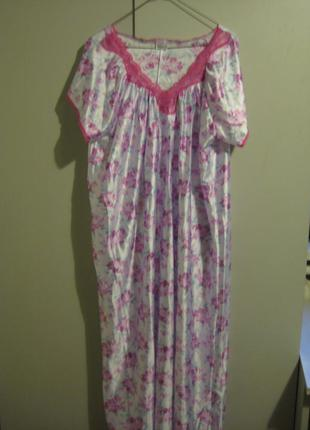 Красивая  шелковистая рубашка/ночнушка .damart 40/l( большемерит)