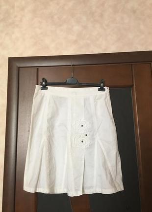 Летняя белая котоновая юбка на наш 48 супер!!!