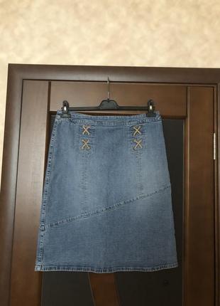 Джинсовая брендовая светлая юбка на наш 48-50. супер!