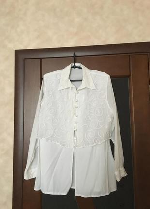 Белая нарядная рубашка большого размера 54-56. супер!