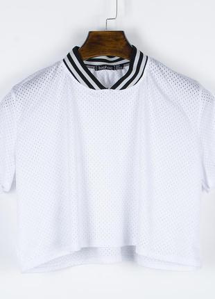 Белая футболка сетка, короткая футболка белая, прозрачная футб...