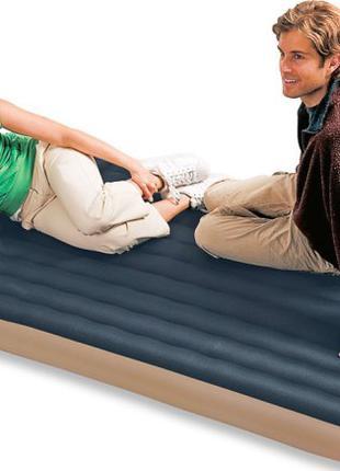 Полуторный надувной матрас тканевый Intex