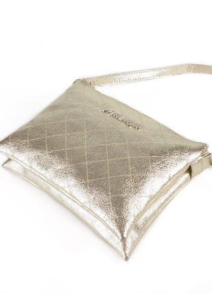Золотистая женская сумка-кроссбоди через плечо на молнии