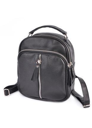 Кожаная сумка-рюкзак трансформер маленькая через плечо