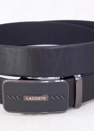 Мужской кожаный ремень-автомат lacoste в коробке