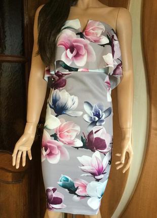 Платье бюстье по фигуре в цветы с воланом размер 8