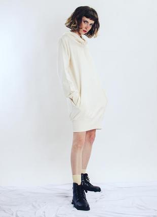 Белая толстовка платье с большим воротником, длинная толстовка...