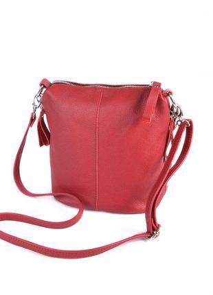 Кожаная красная сумка через плечо кросс-боди