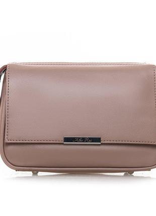 Розовая летняя сумка-клатч через плечо натуральная кожа