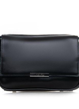 Кожаная сумка клатч черная через плечо