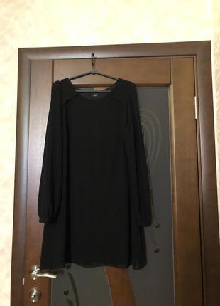 Чёрная шифоновая удлинённая блуза-туника от бренда f&f большог...