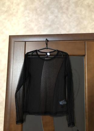 Модная чёрная блузка сеточкой от h&m на наш 46-48. супер!