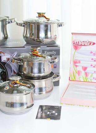Набор посуды Krauff 12 предметов в подарок Набор 5 кухонных ножей