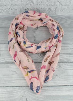 Итальянский шарф girandola 0001-120 нежно-розовый с принтом пе...