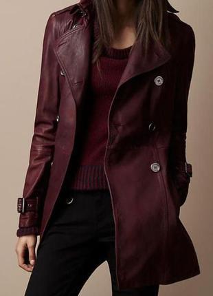 Бордовый тренч,куртка натуральная кожа от бренда vera pelle,ит...