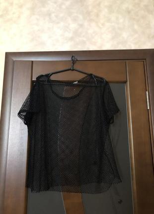 Чёрная блуза в крупную сетку. супер! р-р оверсайз
