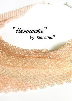 Нежное персиковое колье-косынка шарфик ручная работа бисер