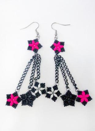 Клубные серьги звезды неон кислотно розовый