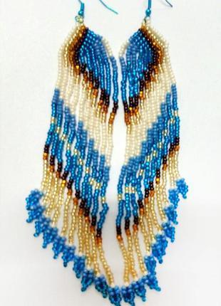 Красивейшие длинные серьги ручной работы голубой золотистый ко...