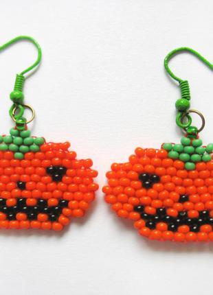 Яркие оранжевые серьги на хэллоуин halloween тыква джек недорого