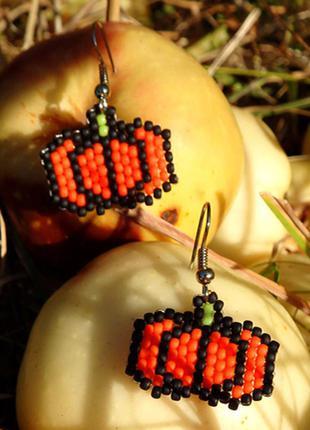 Серьги тыковки хэллоуин halloween аккуратные небольшие матовые...