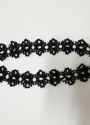 Черный кружевной чокер из бисера