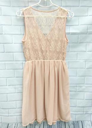 Легкое платье пудрового цвета с кружевной спинкой only