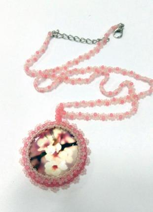 Нежный розовый кулон на цепочке весенние цветы #розвантажуюсь