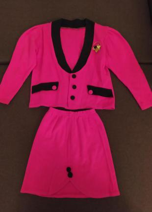 Ярко розовый нарядный костюм для девочки пиждак + юбка