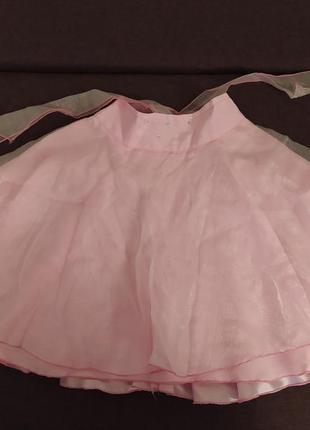 Пышная нарядная юбка розовая с шелковой подкладкой и блестящим...
