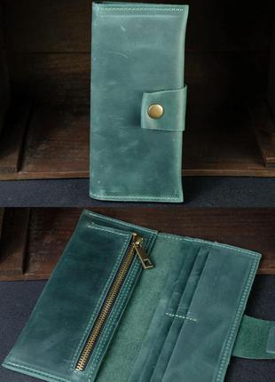 Кожаный кошелек из натуральной винтажной кожи зеленый