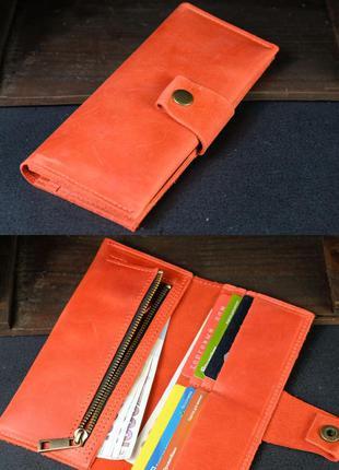 Кожаный кошелек из натуральной винтажной кожи красный