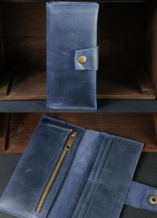Кожаный кошелек из натуральной винтажной кожи синий