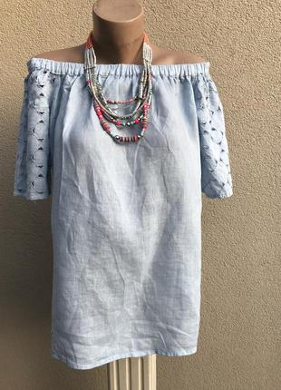 Льняная блуза,рубаха,открытые плечи,вышивка,этно,бохо стиль