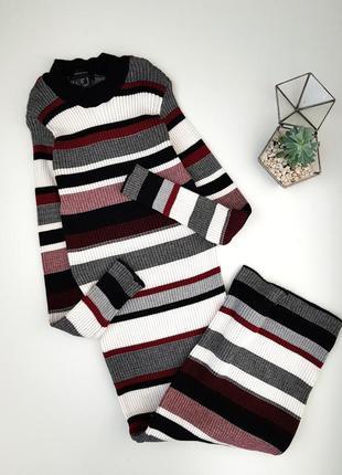 Класное трендовое платье миди в полоску в рубчик