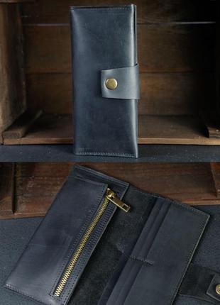 Кожаный кошелек из натуральной винтажной кожи черный