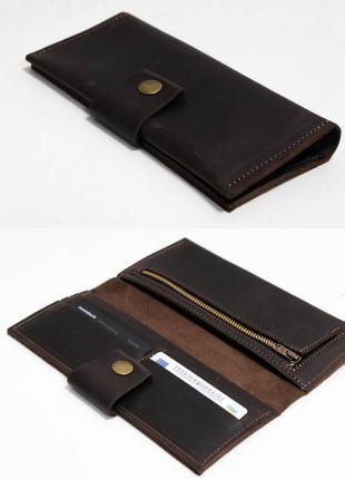 Кожаный кошелек из натуральной винтажной кожи шоколадного цвета