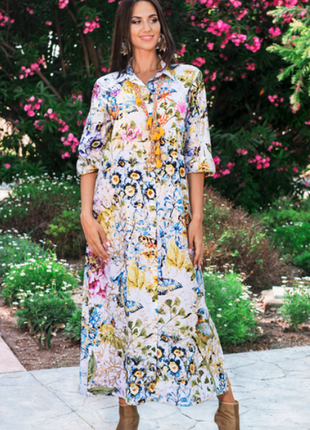 Новинка длинное яркое платье рубашка с вышивкой бисером индиан...