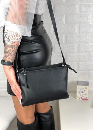 Сумка еко кожа длинный ремешок через плечо сумка