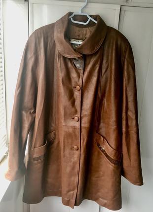 Большой размер женская куртка  из натуральной кожи
