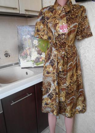 #винтажное платье-рубашка 100% шелк #большой размер 16 #