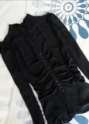 Шифоновая черная полупрозрачная блуза блузка сорочка чорна нап...