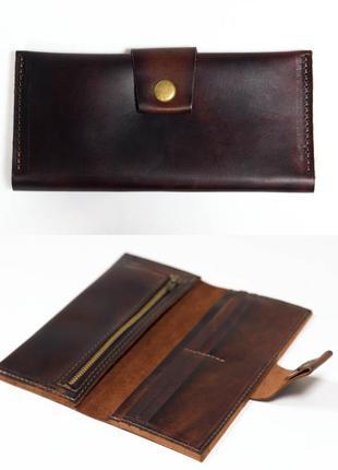 Кожаный кошелек из натуральной кожи итальянский краст вишневый