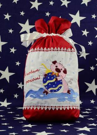 Мешок новогодний для подарков мешочек на рождество