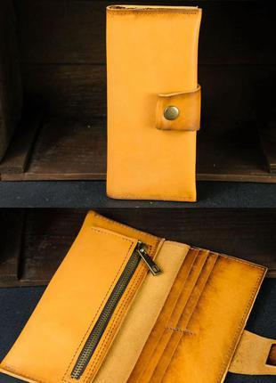 Кожаный кошелек из натуральной кожи итальянский краст цвета ян...