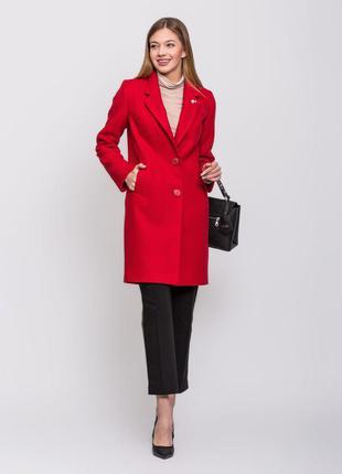 Женское весенее классическое красное пальто демисезон