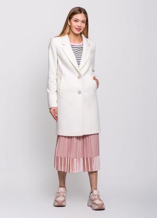 Женское весенее классическое белое пальто демисезон