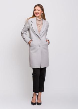 Женское весенее классическое серое пальто демисезон