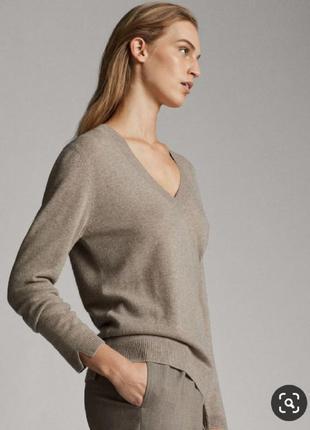 Кашемировый бежевый серый джемпер пуловер свитер кашеміровий с...